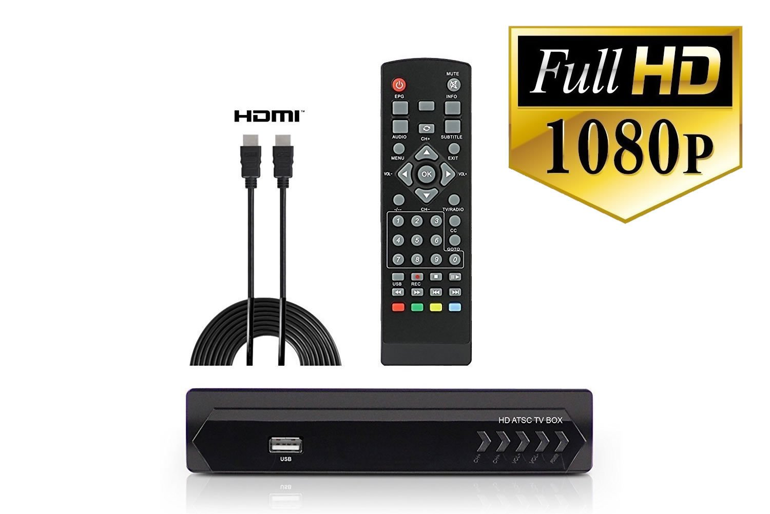 Digital Converter Box + HDMI Cable for Watching & Recording Full HD Digital Channels for FREE - Instant & Scheduled Recording, 1080P, HDMI Output, 7 Day Program Guide & LCD Screen