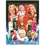 Marilyn Monroe cinema stamp sheet for collectors with beautiful illustrations of Marilyn Monroe in her movies - 9 Superb condition stamps / Mongolia