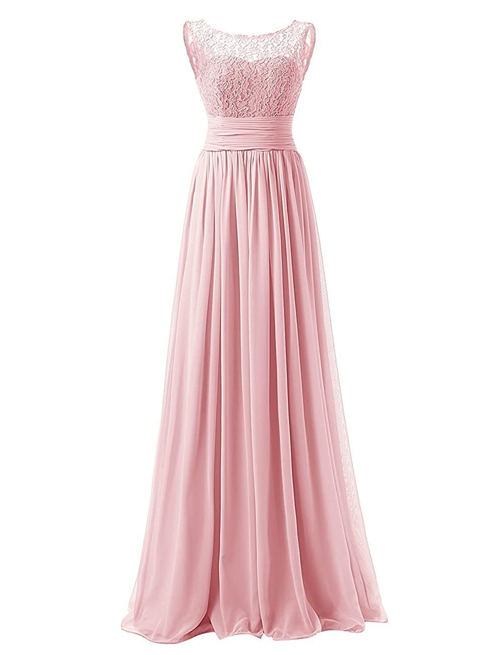 a2665d56c Honey Qiao Women's Scoop Lace Bridesmaid Dresses Long Chiffon Evening Gown  at Amazon Women's Clothing store: