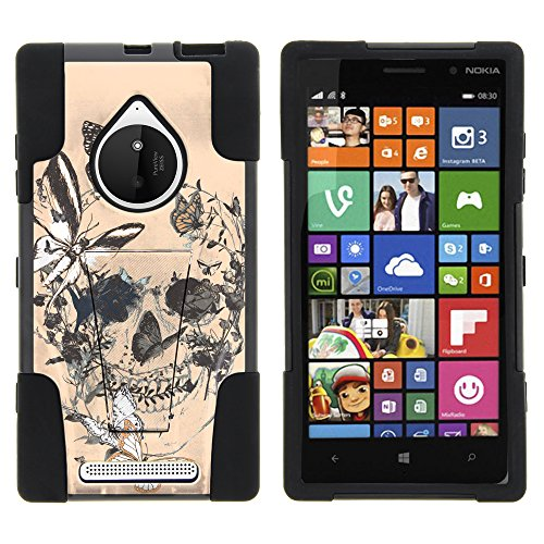 Nokia Lumia 830 Case, Silicone Gel and PC Combination STRIKE Impact Kickstand Case with Dazzling Designs for Nokia Lumia 830 (AT&T, T Mobile, Verizon) from MINITURTLE | Includes Clear Screen Protector and Stylus Pen - Butterfly Skull