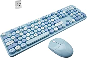 Wireless Keyboard and Mouse Combo, Blue Retro Wireless Keyboard with Round Keycaps, 2.4GHz Dropout-Free Connection, Cute Wireless Mouse, Compatible with PC/Laptop/Mac/Windows XP/7/8/10 (Blue-Colorful)