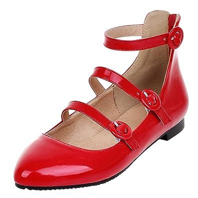 hot sale online 3d173 a58c9 YE Damen Spitze Flache Pumps Bequem Ballerinas Lack Schuhe ...