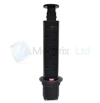Pull Pop Up Socket Power Strip Tower UK Plug Kitchen Office Desk Extension  (Black)