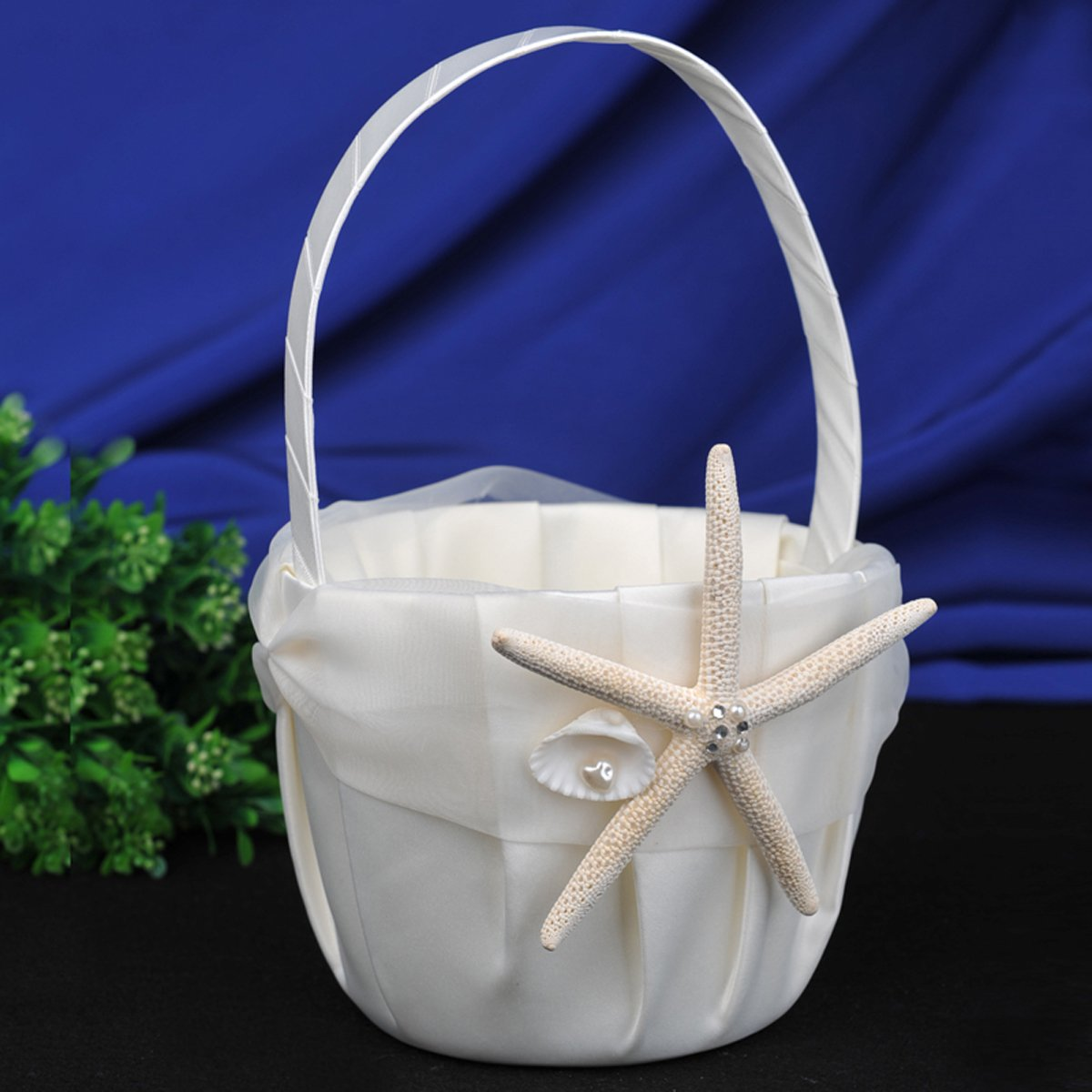 Amazon topwedding beach themed ivory satin flower girl basket amazon topwedding beach themed ivory satin flower girl basket with sea star and seashell home kitchen izmirmasajfo