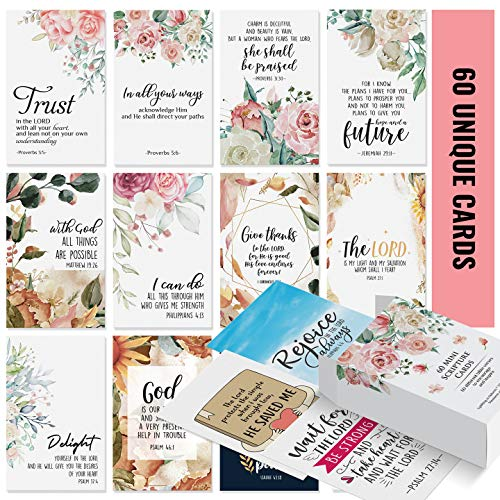 Prayer Cards - 60 Mini Scripture Cards with Assorted...