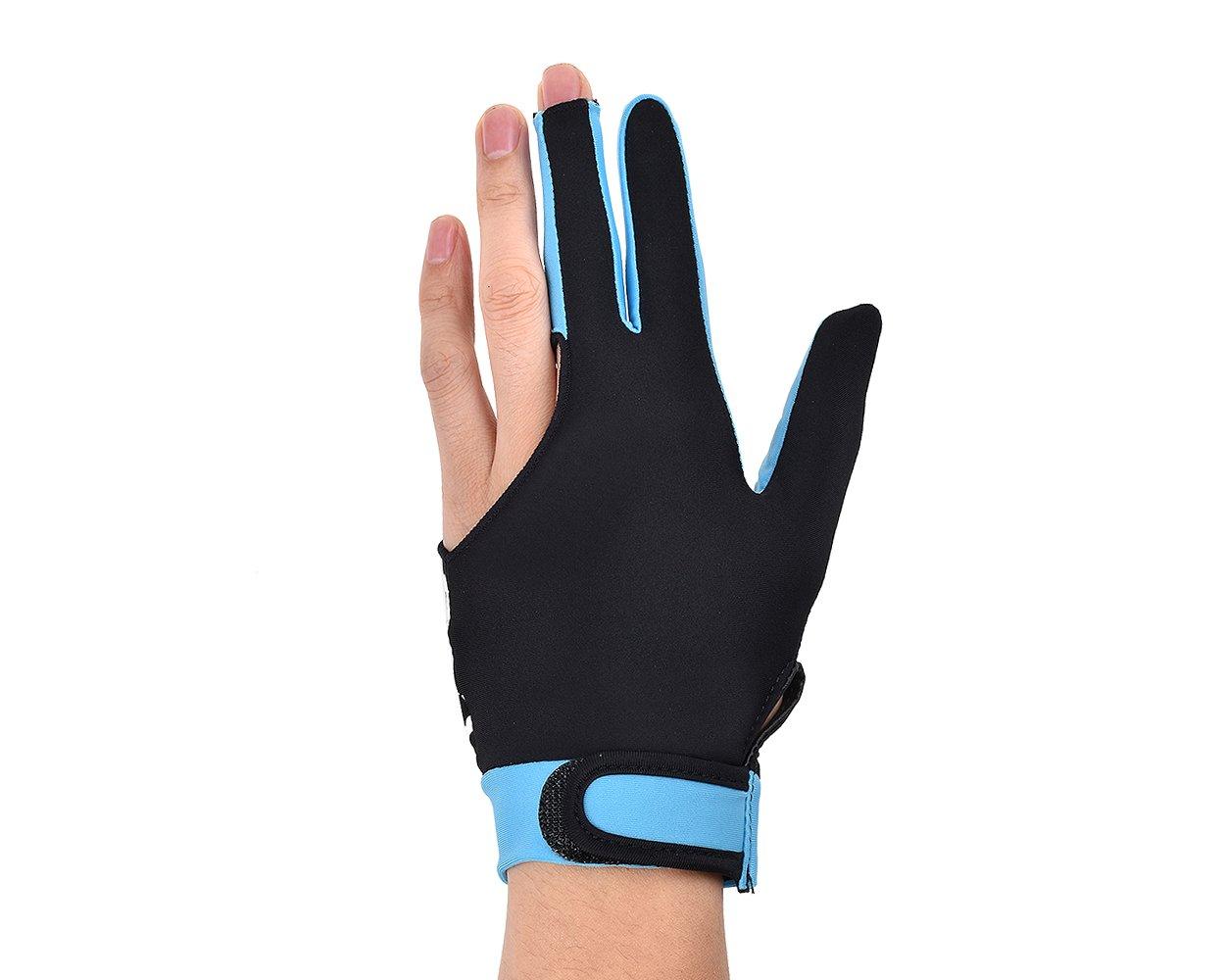 DSstyles 1 pieza de lycra elástica 3 dedos de piscina y billar Snooker guante (talla M) - Cielo azul