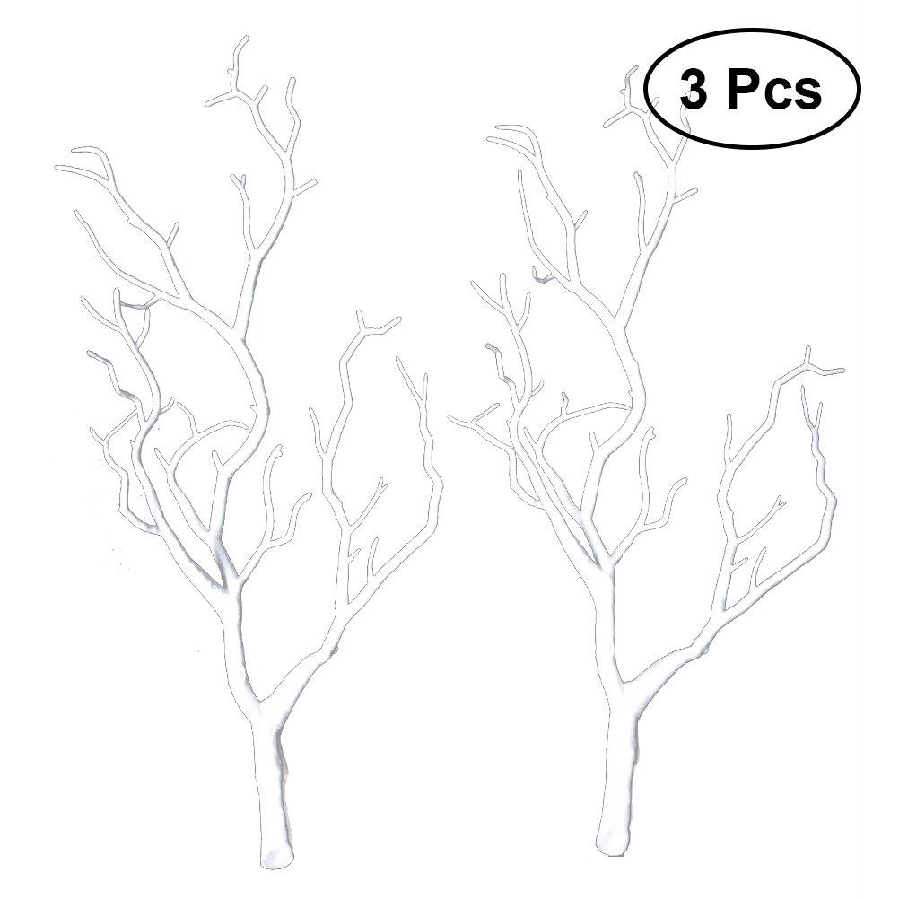 VORCOOL 3pcs Branches d'arbres Séchées artificielles en Plastique Branches Faux Similaire à Vraies Plantes Cornes en Bois Cornes en Forme de Branche pour la Décoration (Blanc)