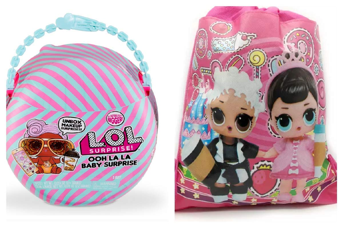 L.O.L. Surprise! Ooh La La Baby Surprise Lil D.J. with Purse & Makeup Surprises and Drawstring Backpack by L.O.L. Surprise!