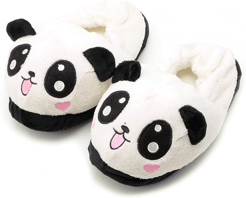 Kocome Cute Funny Panda Eyes Women Slippers Lovely Cartoon Indoor Home Soft Shoes Beige