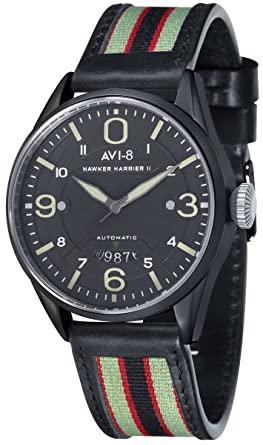 amazon ブラックhawker harrier ii watch by avi 8 メンズ腕時計