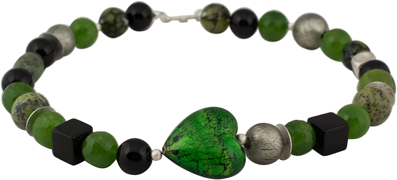 Onyx Achat - Collar de cristal de Murano con piedras preciosas y diseño de corazón