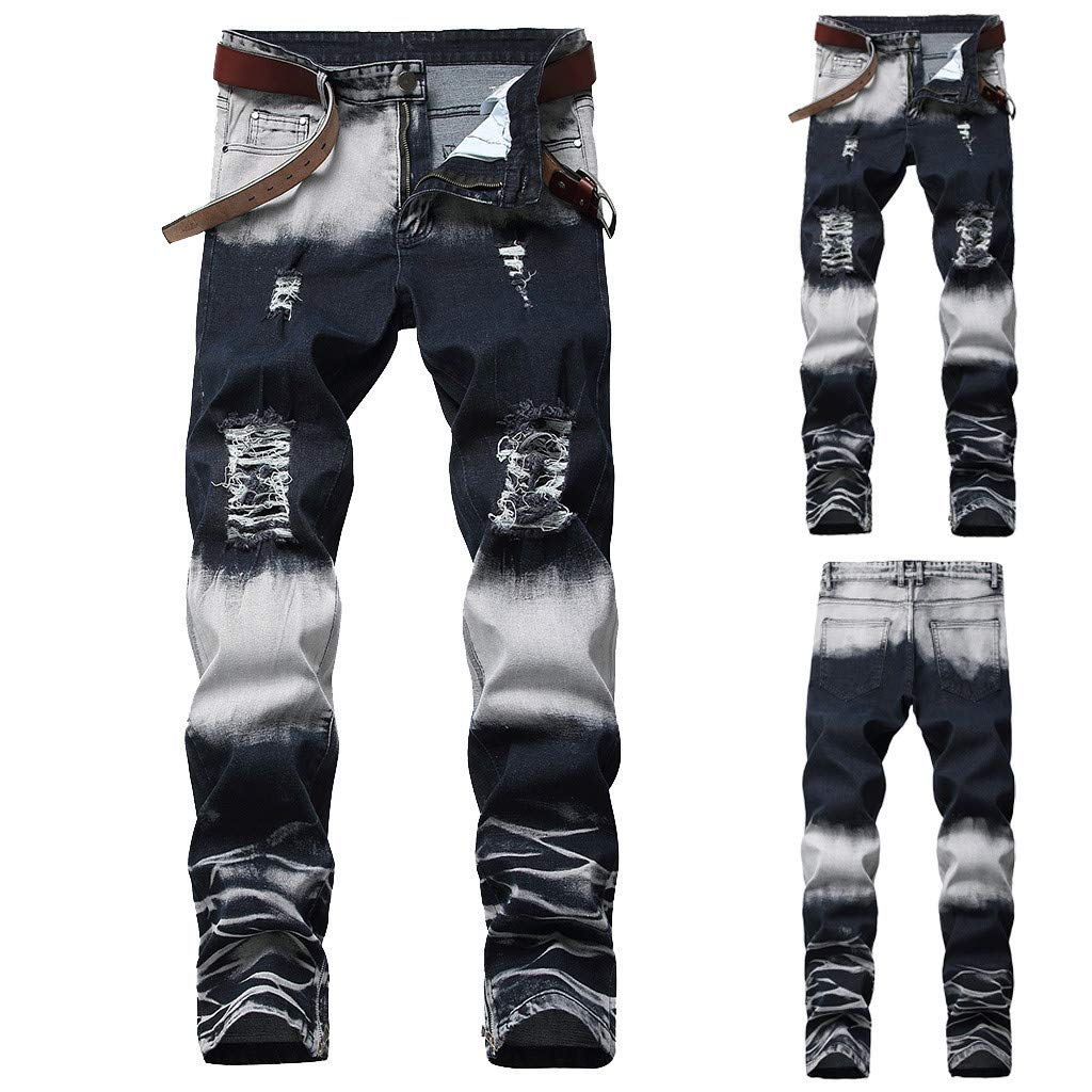 Coohole-Summer Men's Stretchy Ripped Skinny Biker Jeans Destroyed Taped Slim Fit Denim Pants
