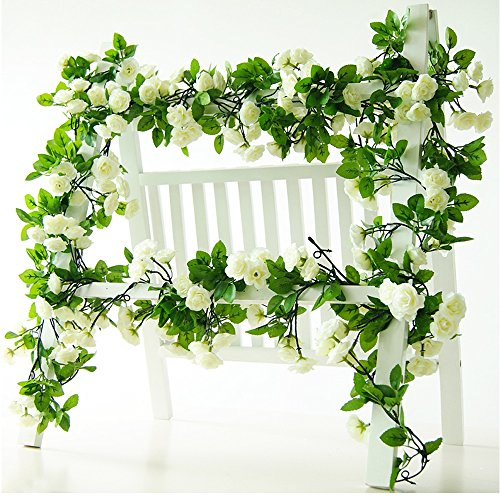 Pink Floral Vine (Li Hua Cat Rose Garland Artificial Rose Vine with Green Leaves 63 Inch Pack of 3 Flower Garland For Home Wedding Decoration (white))