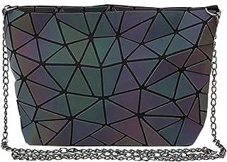AiSi Geometric Pu Leather Shoulder Handbags Holographic Clutch Bag Metal Chain Satchel Purse