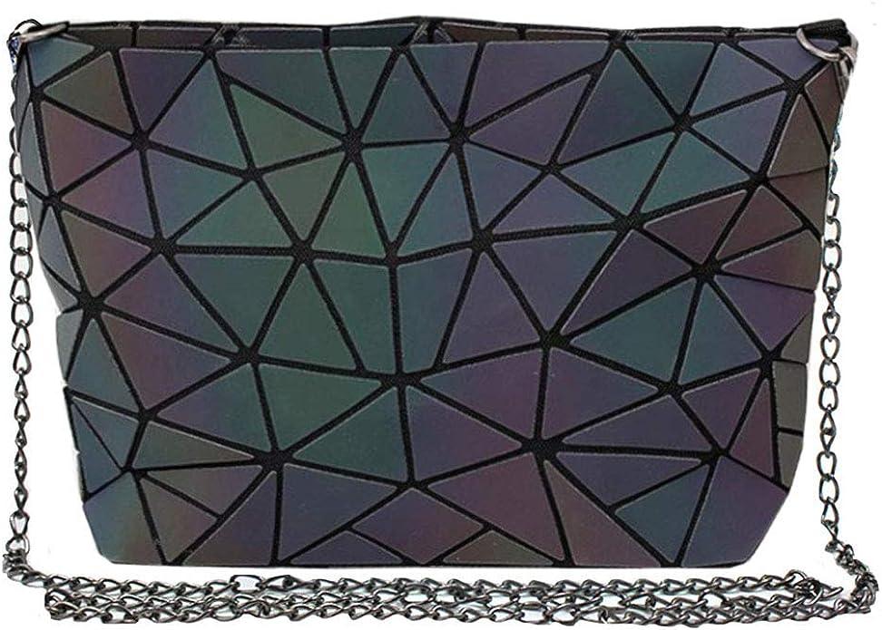 TEAMWIN Geometric Luminous Briefcase Laptop Tote Bag Messenger Pack Holographic Purses