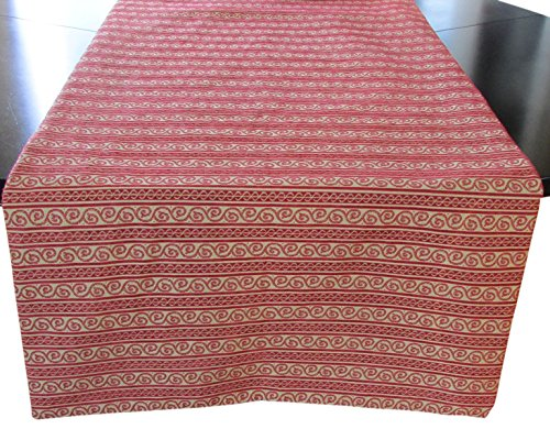 Corona Decor Extra-Wide Italian Woven Table Runner, 95 by 26-Inch, Red/Beige by Corona Decor Co.