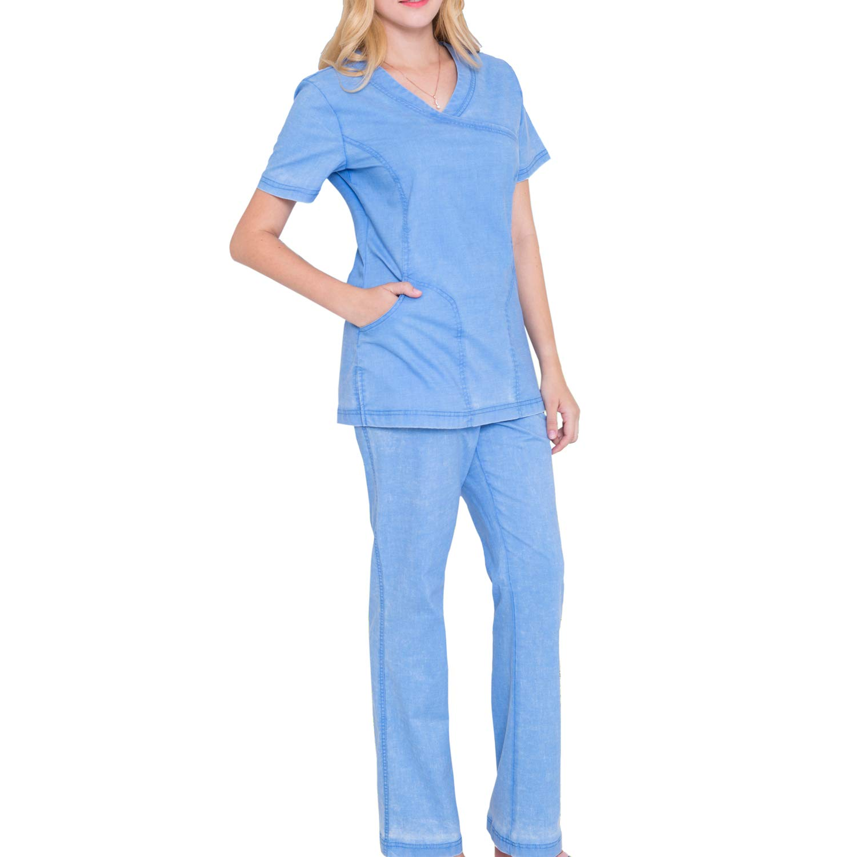 e4752468636 Amazon.com: Mock Wrap Neck Stretch Scrubs Set - Women Scrub Top Soft  Medical Uniforms Nursing Scrubs Top and Pants Jeanish Washed JS1608:  Clothing