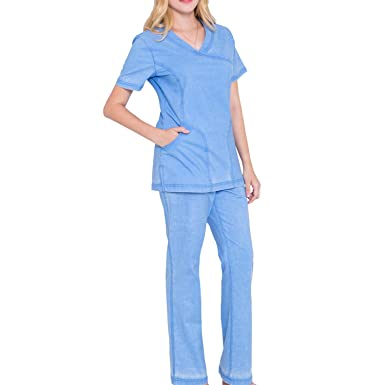 dfa663b4204 Mock Wrap Neck Stretch Scrubs Set - Women Scrub Top Soft Medical Uniforms  Nursing Scrub Top
