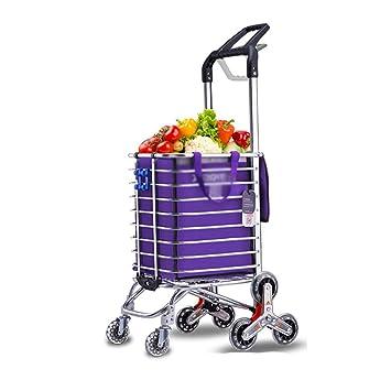 Carretilla portátil Plegable para el Carrito de la Compra de 8 Ruedas, para lavandería, comestibles y Mercado - Sube y Baja escaleras (Color : Purple): ...
