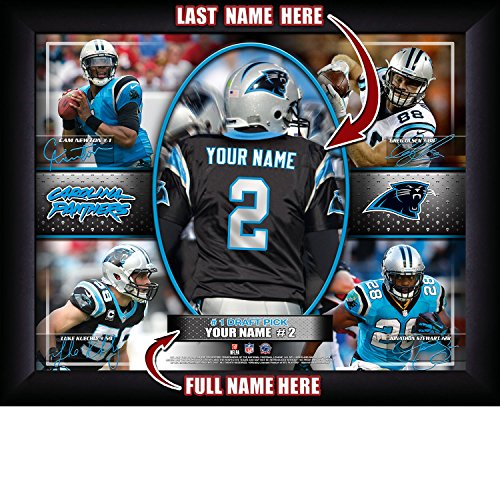 Carolina Panthers Personalized NFL Football Number One Draft Pick Action Autograph Collage Framed Art Print 13x16 Inches