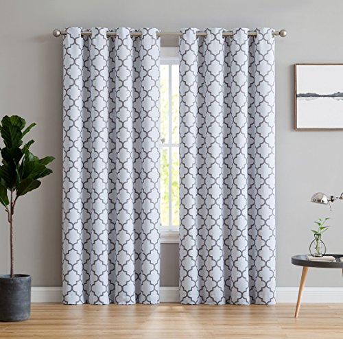 HLC.ME Lattice Print Thermal Insulated Room Darkening Blackout Window Curtains for Bedroom - Platinum White & Grey - 52