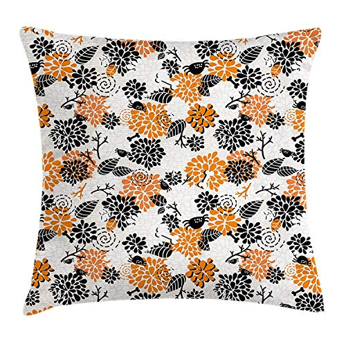 K0k2t0 Doodle Throw Pillow Cushion Cover, Halloween Inspired Floral Pattern Abstract Petals Leaf Bugs Harvest Holiday, Decorative Square Accent Pillow Case, 18 X 18 inches, Orange Black Beige]()