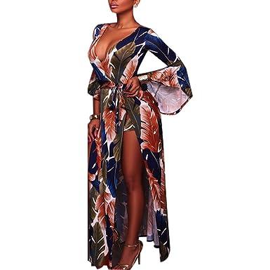 en gros gamme complète de spécifications styles de mode Carolilly Robe Fendue Femme Maxi Longue Chic Sexy avec Short Haut-Parleur  Manches Motifs vifs pour Soirée Club Cocktail Danse Plage