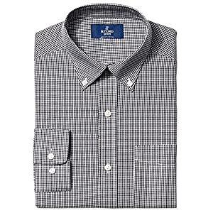 Amazon Brand - BUTTONED DOWN Men's Classic Fit Gingham Non-Iron Dress Shirt 17
