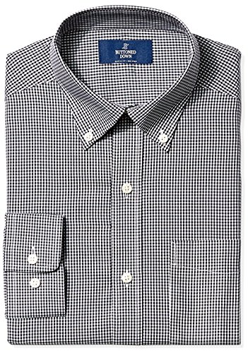 BUTTONED DOWN Men's Classic Fit Button-Collar Non-Iron Dress Shirt, Black Gingham, 16