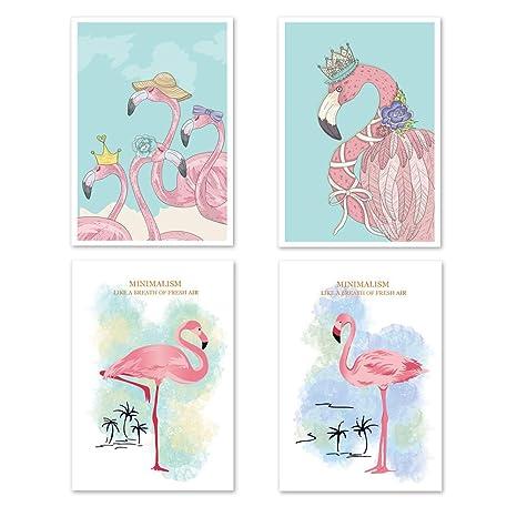 4er Set Flamingo Babyzimmer Bilder Kinderzimmer Bilder DIN ...