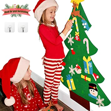 Sunboom 3ft Diy Felt Christmas Tree For Toddlers 26pcs Diy Christmas Ornaments For Kids Wall Door Hanging Christmas Decorations Xmas Trees Decor For
