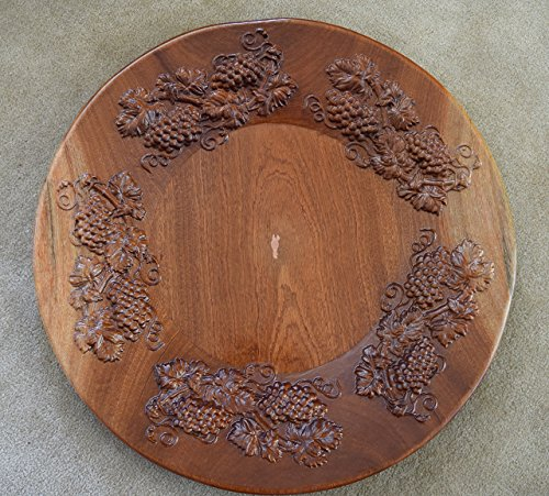 #2823 Sapele Wood Platter with Grape Carvings. 24