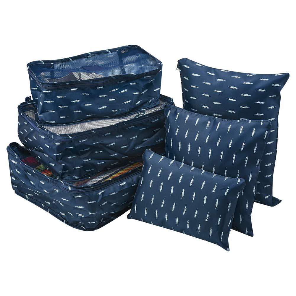 Bleu Wilxaw Organiseurs de Bagage Sacs de Rangement 3 Diff/érentes Tailles Sac /à Linge Bagages Pochettes de Compression Ensemble de 6 Cubes demballage de Voyage