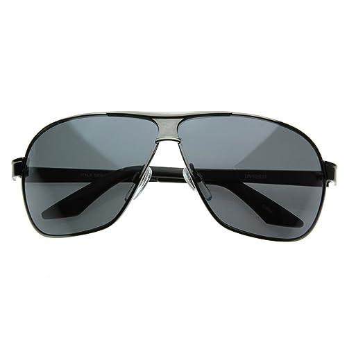 08f8f6c8033ff Amazon.com  Square Aviator Large Metal Aviator Sunglasses (Gunmetal ...
