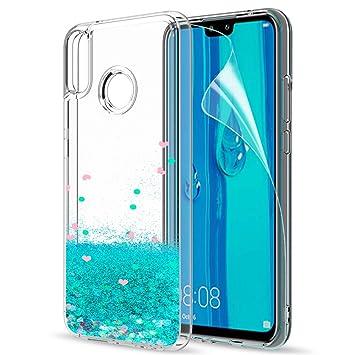 77deed42302 LeYi Funda Huawei Y9 2019 Silicona Purpurina Carcasa con HD Protectores de  Pantalla,Transparente Cristal Bumper Telefono Gel TPU Fundas Case Cover  para ...
