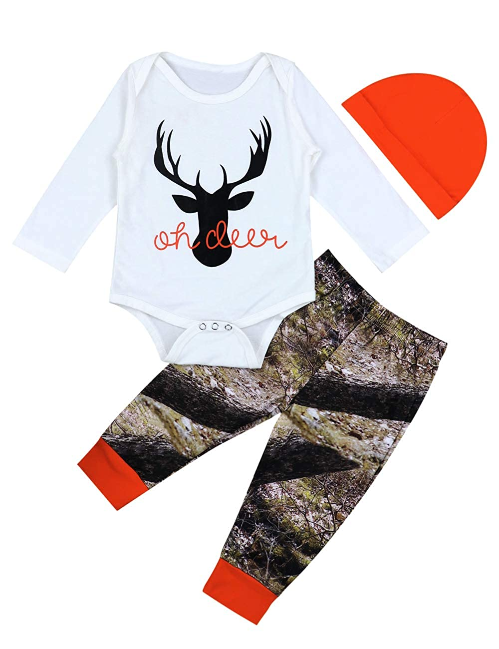 Newborn Baby Boys Girls Christmas Plaid Cardigan Romper Christmas Outfit with Moose Embroidery 2Pcs Outfit Set itkidboy
