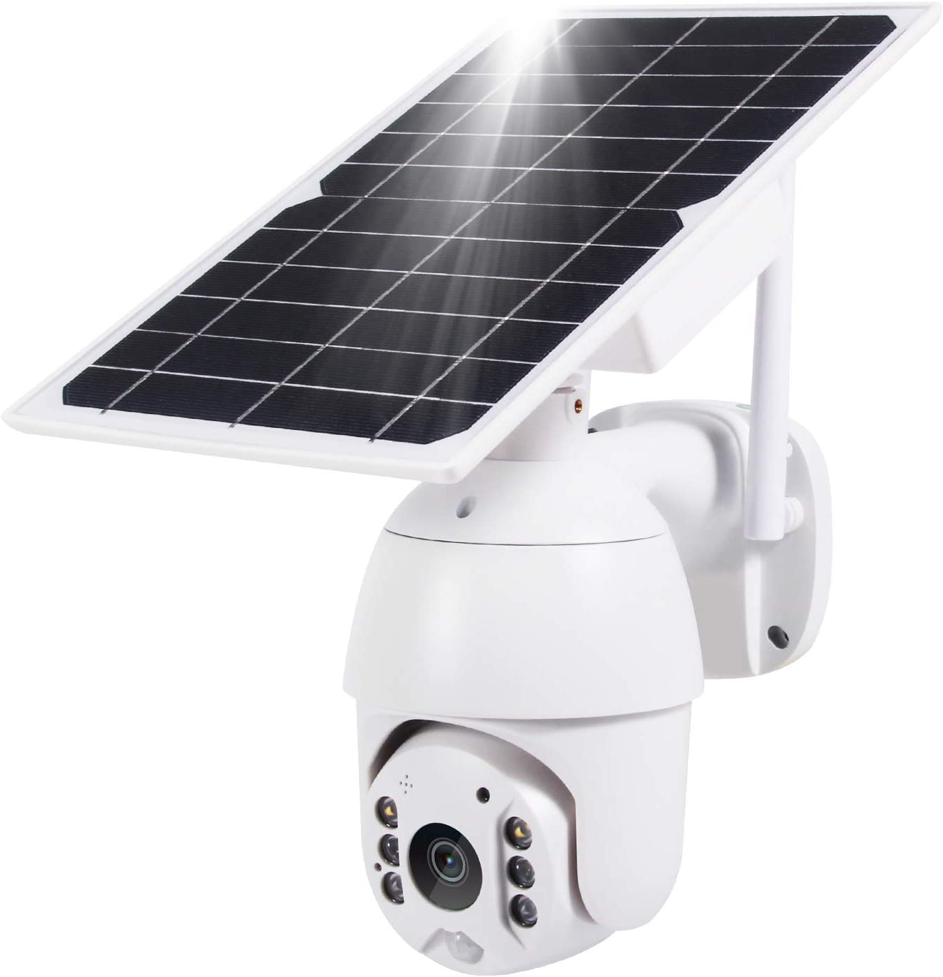 Solar Security Camera Outdoor,Yeoman 1080P Wireless Wi-Fi Spotlight Home Surveillance with Pan Tilt &Rechargeable Battery,Two-Way Talk,PIR Motion Recording,Cloud Storage/SD Slot