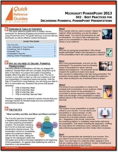 Microsoft PowerPoint 2013 Quick Reference Guide - Best Practices for Delivering Powerful Presentations (302)