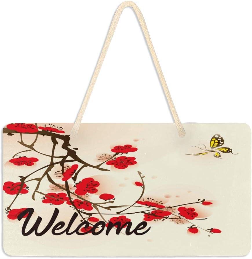 AUUXVA BIGJOKE - Señal de bienvenida para puerta delantera, diseño floral con flores de ciruela y mariposa, para colgar en la pared, para sala de estar, patio, porche, decoración del hogar, 15 x 28 cm