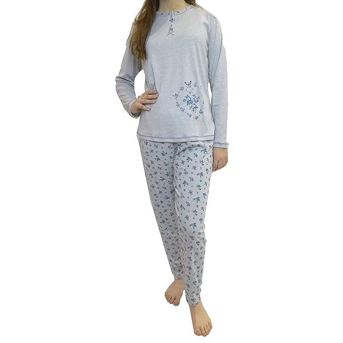 Pijama de se/ñora Mujer de Algod/ón Calido de Conjuntos Largo para el Invierno con Estampado y Pantalon Liso Mini kitten