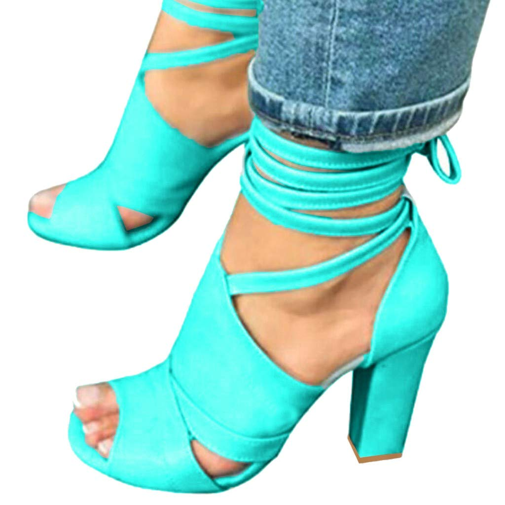Women's Peep Toe High Heels Ankle Cross Straps Chunky Block Sandals Lace Up Dress Party Pump Sandals (Dark Blue, US:9=Foot Length:26.5cm/10.4'') by Sinaou Women Shoes (Image #2)