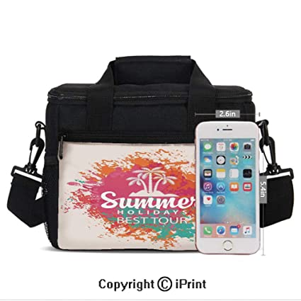 309024ffe155 Amazon.com: Insulated Lunch Box Summer Holidays Best Tour Lettering ...