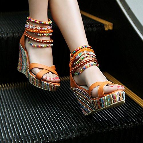 Zapatos con Cu de Bohemia Etnicas Playa Plataforma Multicolor Tac a Cuentas Sandalias Verano 4wTvxBRTgq