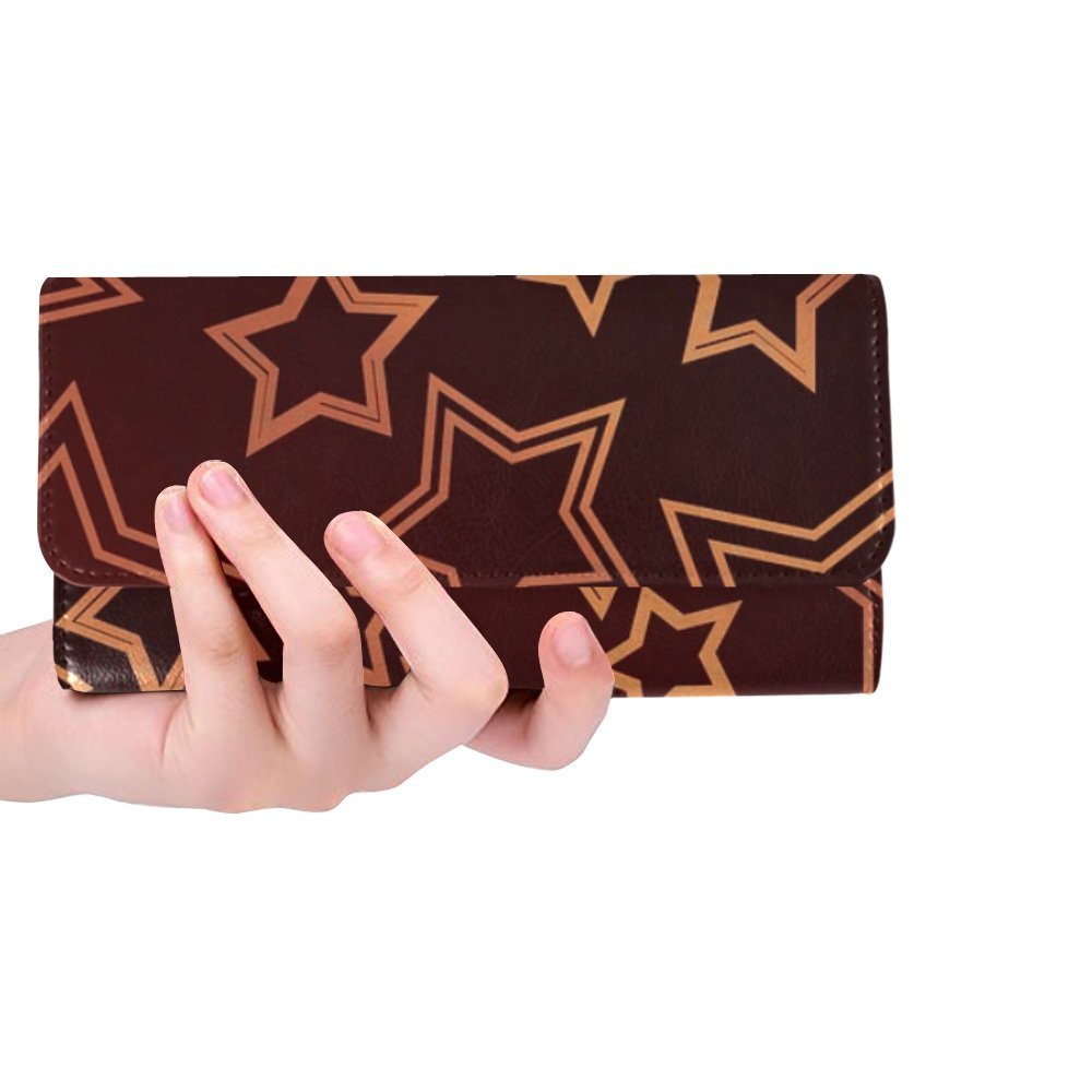 Unique Custom Gold Stars Spiral Chic Brown Texture Women Trifold Wallet Long Purse Credit Card Holder Case Handbag by MOVTBA