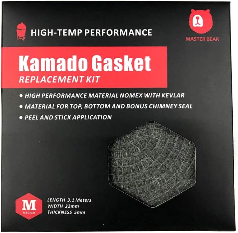 Kamado Grill Gasket for Big Green Egg 10ft Long MASTER BEAR High-Temp Nomex with Kevlar and Carbon Fiber Smoker Gasket Seal