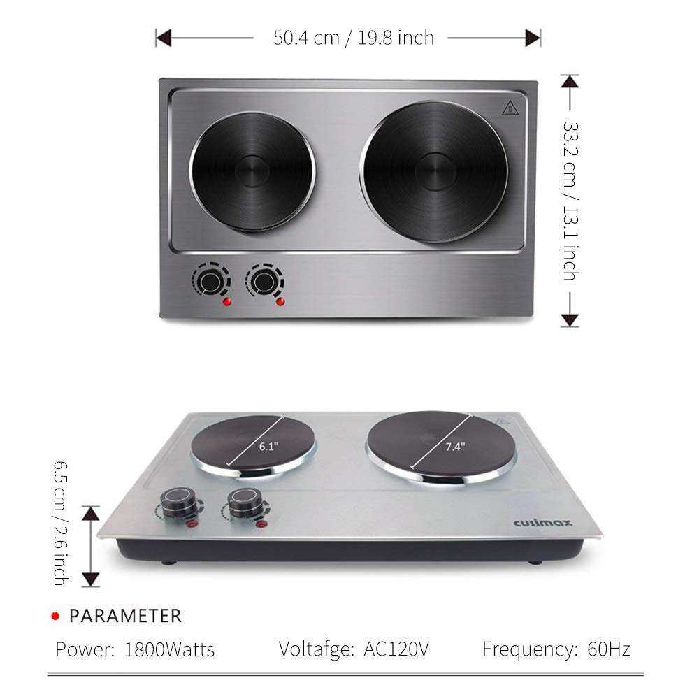 Cusimax Hot Plate Electric Burner Double Burner Cast Iron Heating Plate Portable Double Burner Outdoor Electric Stove 1800W with Adjustable Temperature Control Non-Slip Rubber Feet Black Stainless Steel Easy To Clean Upgraded Version by CUSIMAX-cordial (Image #4)