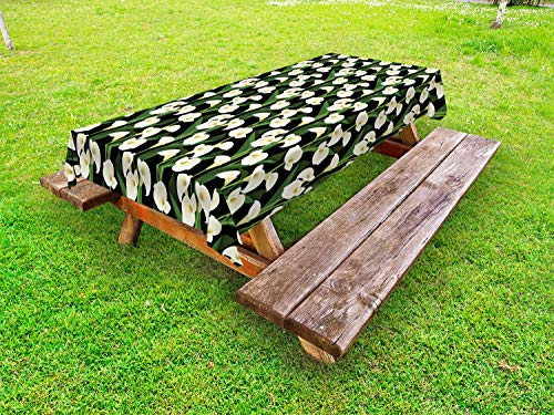 Lunarable Calla Lily Outdoor Tablecloth, Tropical Bouquet of Flowers Feminine Bridal Design Wedding Theme, Decorative Washable Picnic Table Cloth, 58 X 104 Inches, Black Green and Off White ()