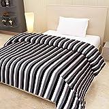 Goyal's Striped Polar Fleece Single Bed AC Blanket - Black & White