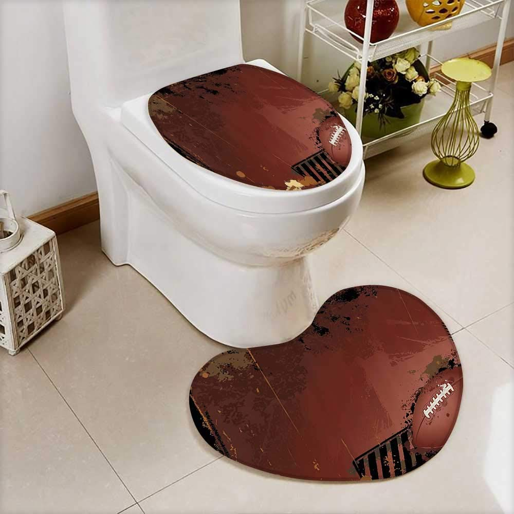 vanfan 2 Piece Toilet Cover set Grunge Rugby Theme with Game Elements Competiti Power Energy Win Sports Artisan in Bathroom Accessories