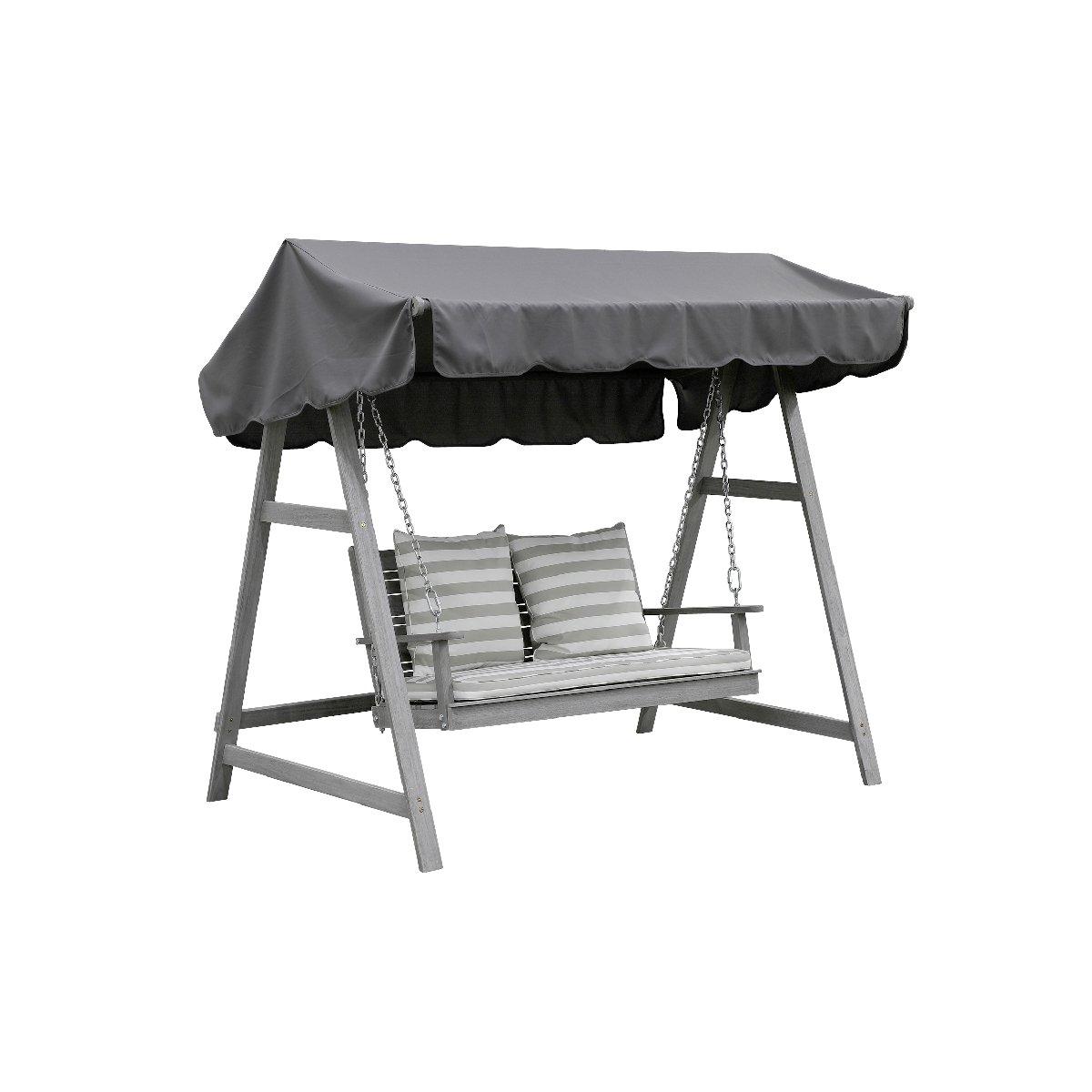 greemotion Hollywoodschaukel Maui aus Holz in Grau-Gartenschaukel 2 Sitzer-Schaukel Hollywood Akazie massiv-Hollywoodliege für Garten, Balkon & Terrasse, 22,3 x 7 x 1,5 cm